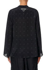 WIDE SLEEVE BUTTON UP BLOUSE BLACK