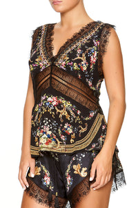 CAMILLA WIDE STRAP LACE CAMI FRIEND IN FLORA