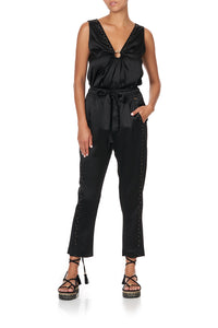 WIDE STRAP U-RING TOP SOLID BLACK