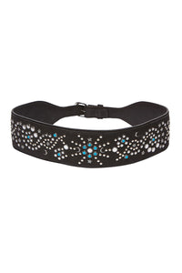 CAMILLA WIDE STUDDED BELT BLACK