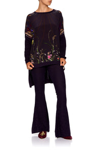 LACE KNIT FLARE PANT WILD FLOWER