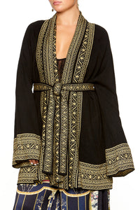 KIMONO KNIT WITH TIE BLACK GOLD