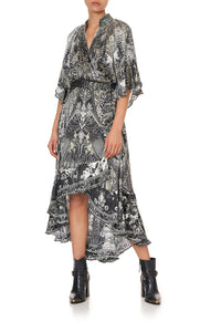 MIDI WRAP DRESS WITH RAGLAN SLEEVE ONE TRIBE