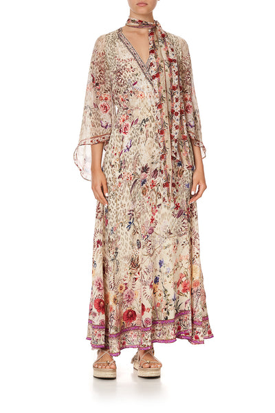WRAP DRESS WITH NECK TIE DRIFTING DREAMER