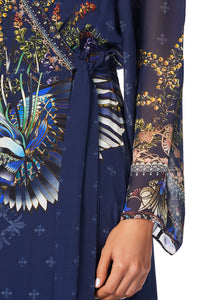 WRAP DRESS WITH PIPING DETAIL SOUTHERN TWILIGHT