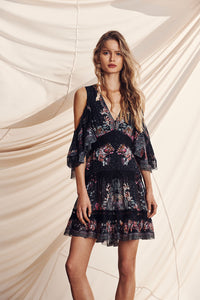 BUTTON UP DRESS WITH LACE INSERT RESTLESS NIGHTS