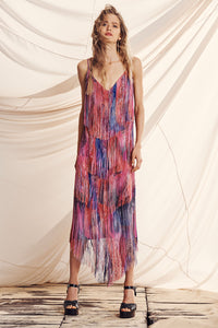 MIDI FRINGE DRESS FOLK RIVER