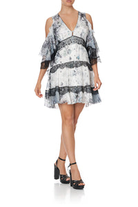 BUTTON UP DRESS WITH LACE INSERT MOONLIT MUSINGS