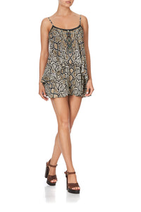 FLARED PLAYSUIT WITH OVERLAYER KAKADU BOO