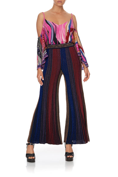 FLARED METALLIC KNIT PANTS FOLK RIVER