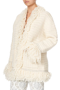 HEAVY KNIT CARDIGAN WITH FRINGING CRYSTAL CASTLE