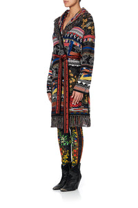 KNIT JACQUARD JACKET WITH FRINGING BLACKHEATH BETTY