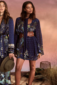 SHORT DRESS WITH YOKE SOUTHERN TWILIGHT