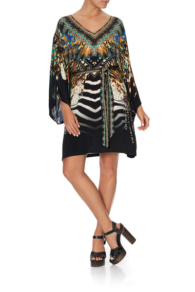 V NECK JERSEY SHORT KAFTAN WITH TIE LOST PARADISE
