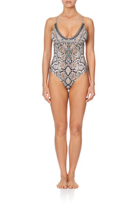 SCOOP NECK ONE PIECE WITH PLAIT STRAP KAKADU BOO