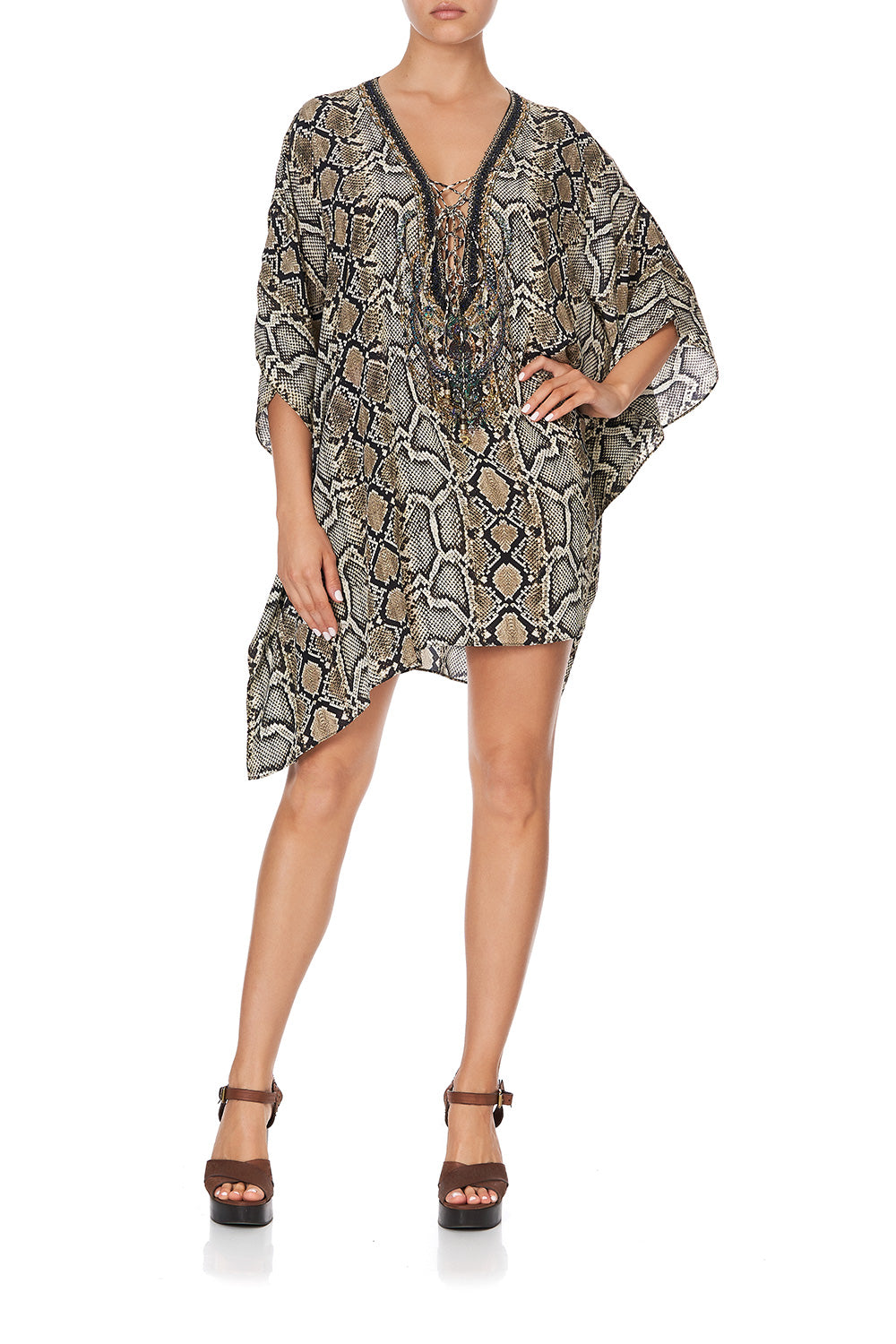 SHORT LACE UP KAFTAN KAKADU BOO