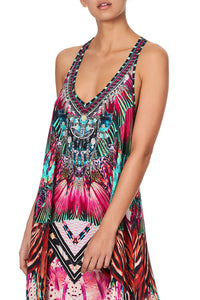 V NECK RACERBACK DRESS RAINBOW EYES