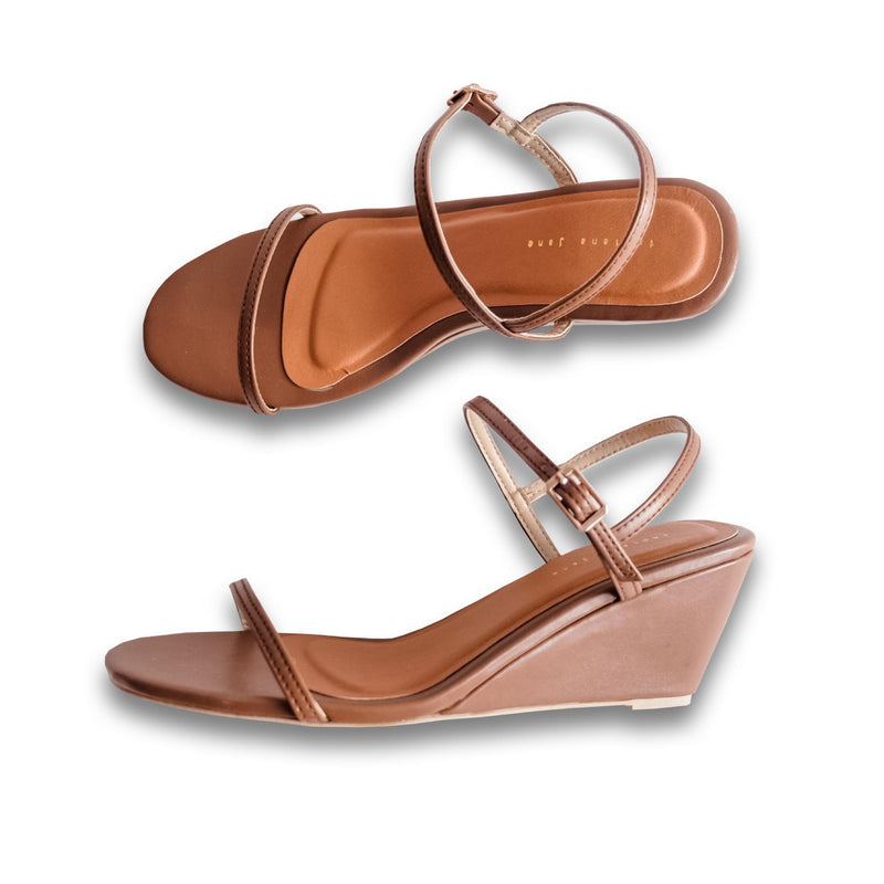 CELESTE Coffee Wedge Sandals