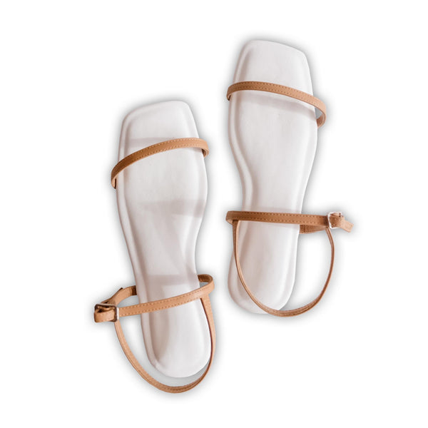 AMETHYST Strappy Cushion Flat Sandals White/Camel