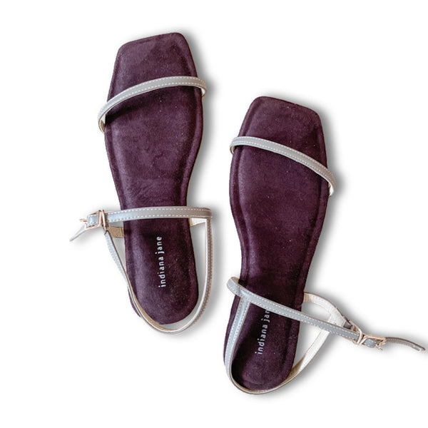 AMETHYST Brown/Taupe Suede Cushion Flat Sandals