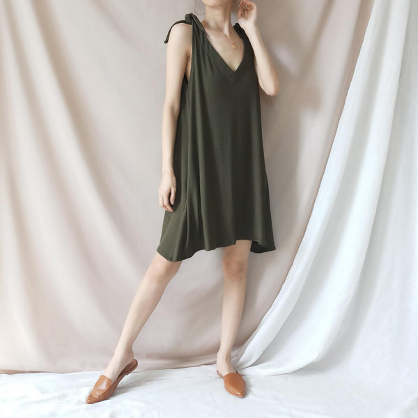 BREEZY Army Green Multiway Soft Ribbed Dress