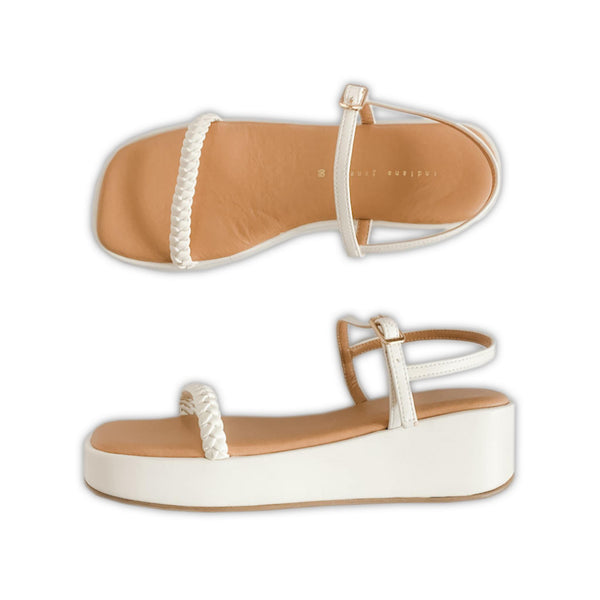 AMELIA Braided White Platform Sandals