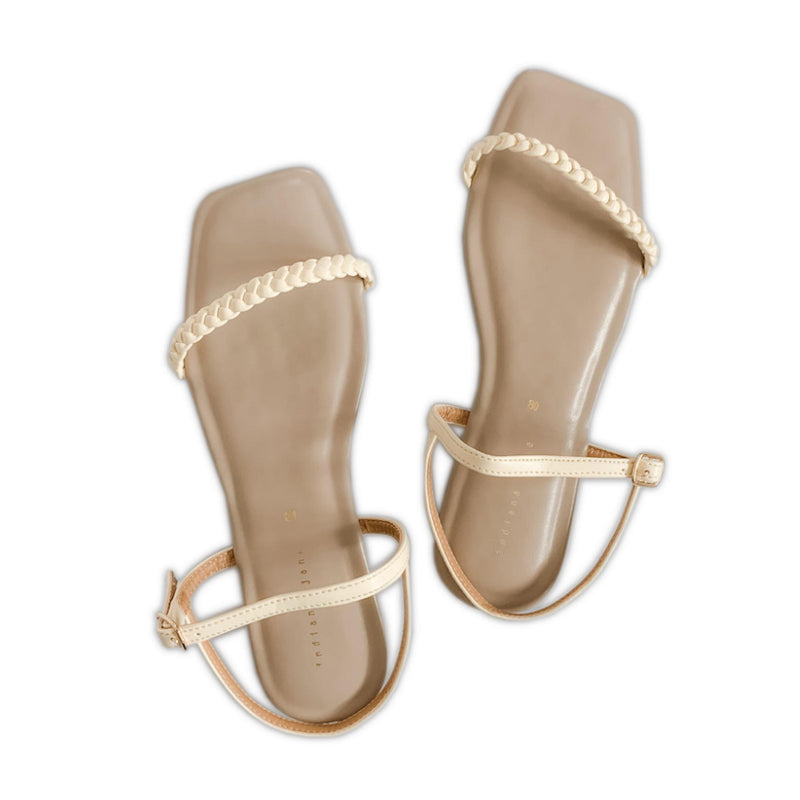CITRINE Braided Strap Cushion Flat Sandals Bone/Beige