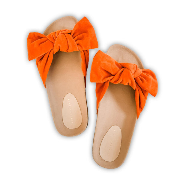ASPEN Orange Elegant Ribbon Strap Flat Slides