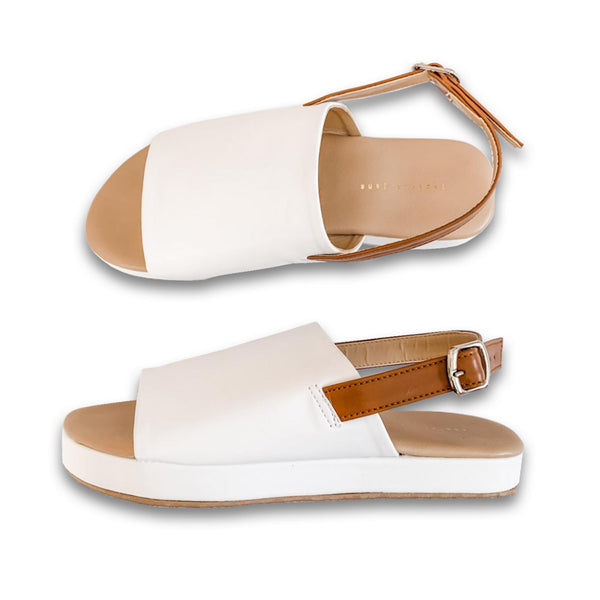 "DELILAH White 1"" Platform Sandals"