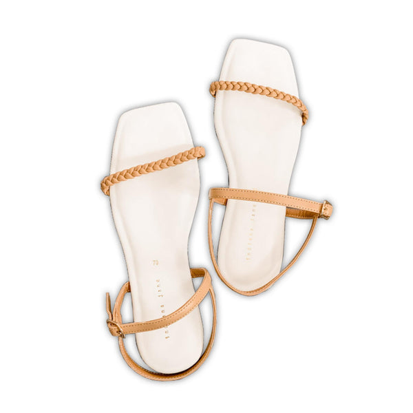 CITRINE Braided Strap Cushion Flat Sandals White/Camel