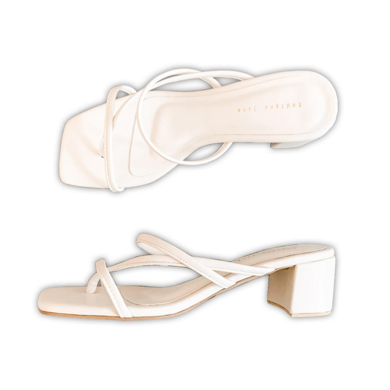 AQUILA Cross Strap Block Heels Slides - White