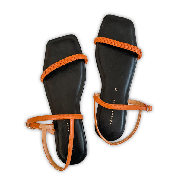 CITRINE Braided Strap Cushion Flat Sandals Black/Orange