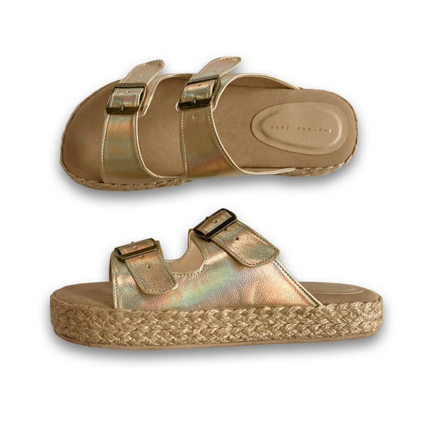 QUEBEC Iridescent Gold Low-Platform Slides