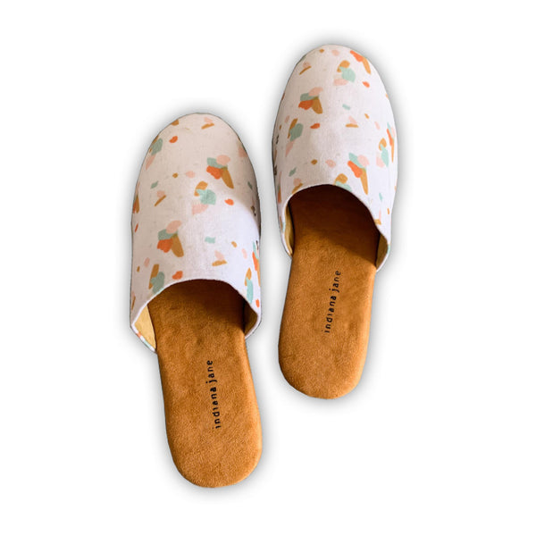 COTTON Camel Abstract Lounge Slippers