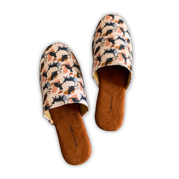 COTTON Brown Cat Lounge Slippers