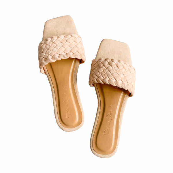 PHOENIX Nude Braided Slide Flats