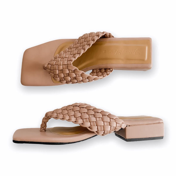 ASTRA Old Rose Braided Low Heels Slide Thongs
