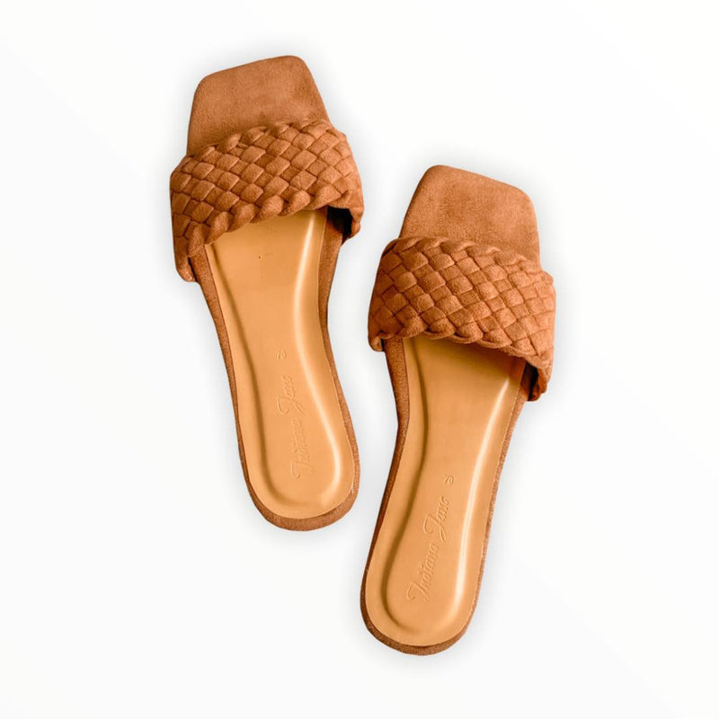 PHOENIX Mocha Braided Slide Flats