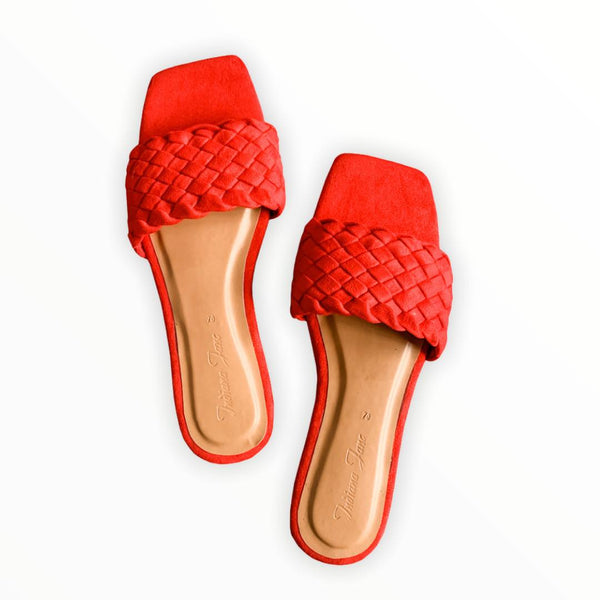 PHOENIX Red Braided Slide Flats