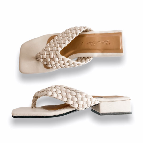 ASTRA Off White Braided Low Heels Slide Thongs