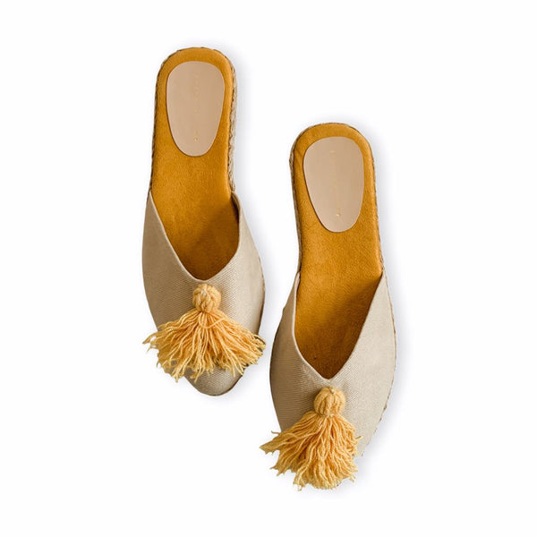 DAHLIA Mustard with Tassel Flat Slides