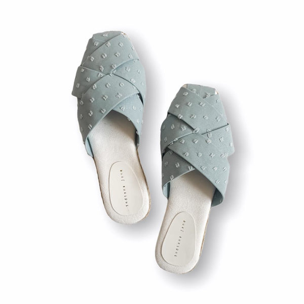 ORCHID Distress Canvas Light Blue Glitz Weaved Suede Mules