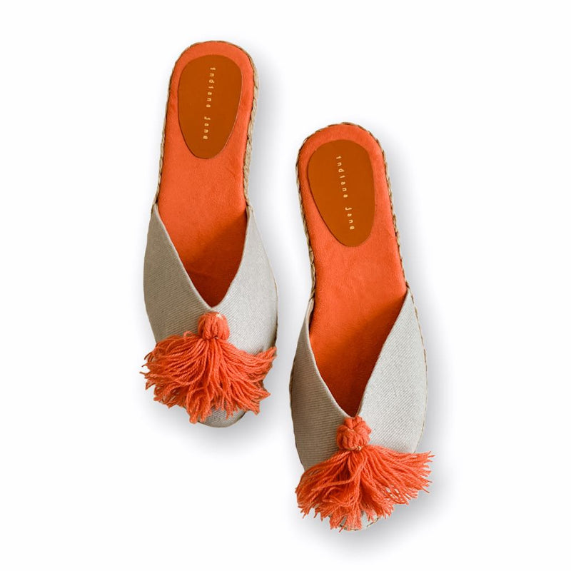 DAHLIA Salmon with Tassel Flat Slides