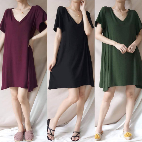 WINDY Soft Ribbed Knit Short Sleeve Dress