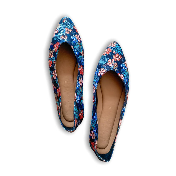 VANILLA Blue Floral Printed Lounge Pointy Shoes