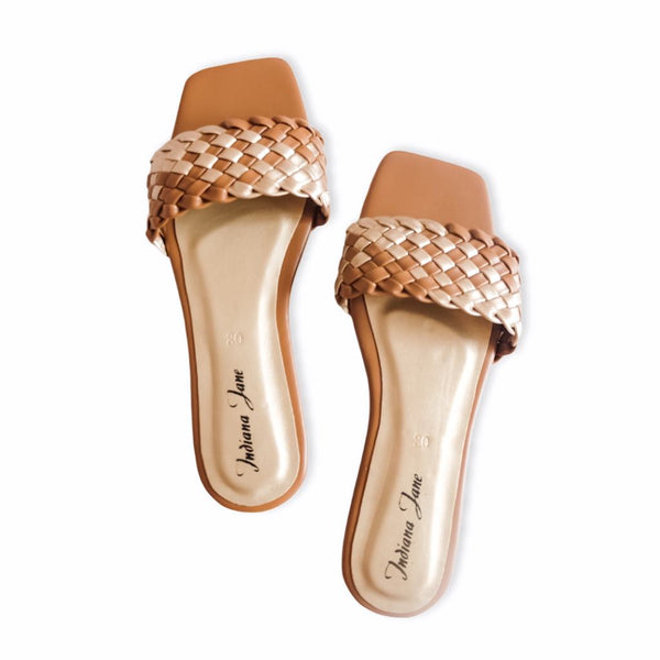 LYNX Mocha Braided Slide Flats