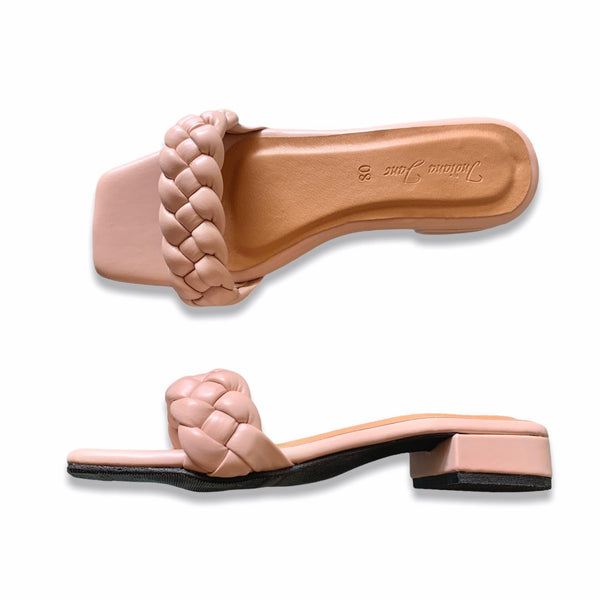 ORION Nude Braided Slide Heels