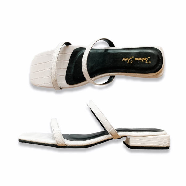 LONDON White Slide Low Heels