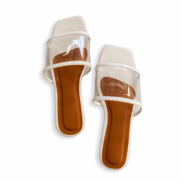MALTA White Clear Strap Slide Flats