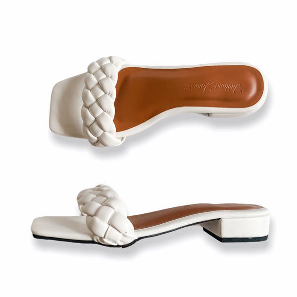 ORION White Braided Slide Heels